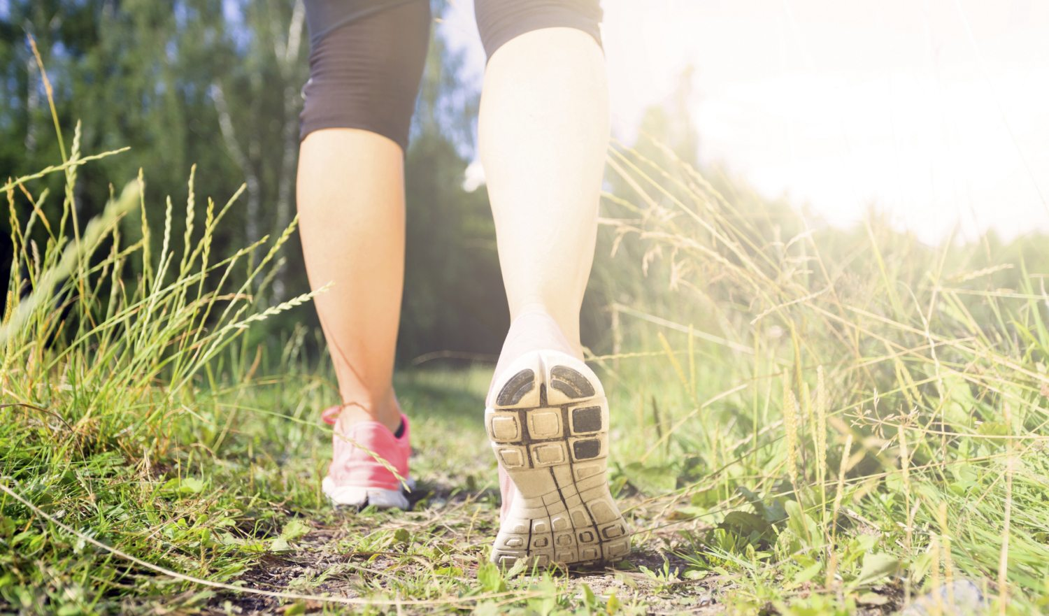 Walking or running exercise, legs on green grass footpath in forest, achievement fitness adventure and exercising in spring or summer nature