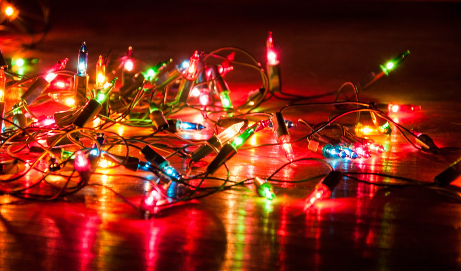 Christmas lights on the floor