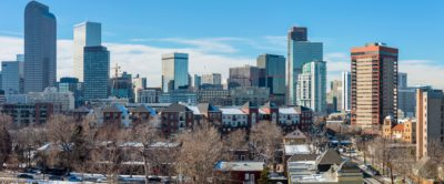 Denver, Colorado, USA - December 28, 2015: A panoramic winter view of east-side of Downtown Denver.