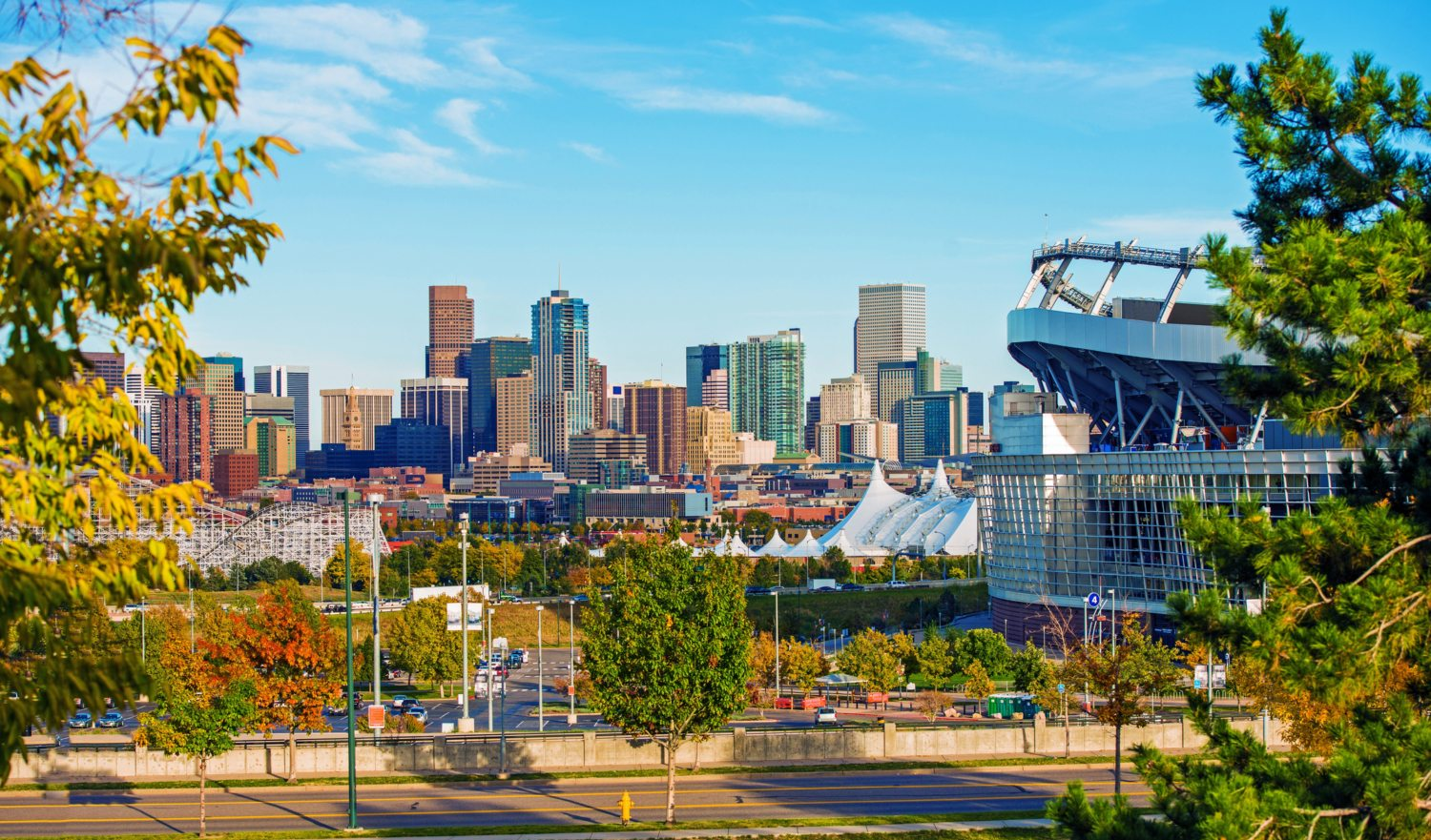 Denver Cityscape Colorado. Downtown Denver Skyline and the Mile High Stadium. Colorado, United States.