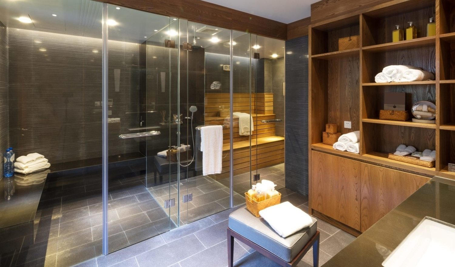 decoration and furniture in modern sauna room